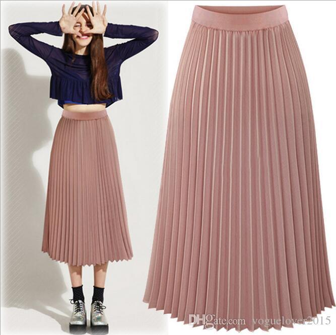 pleated skirt 2018 fashion tea length pleated skirts for women 2017 summer empire chiffon xtzyauc