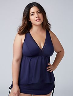 plus size bathing suits swim tankini top with high-low hem u0026 built-in no-wire bra vnrgvqg