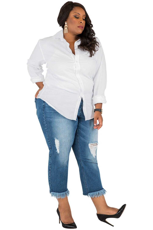 plus size boyfriend jeans plus size frayed hem curvy fit cropped boyfriend jeans ... rznrkjx