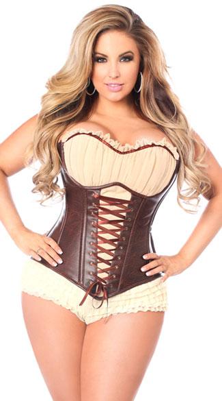 plus size corset plus size faux leather steel boned ren faire corset, plus size brown faux zaoofte
