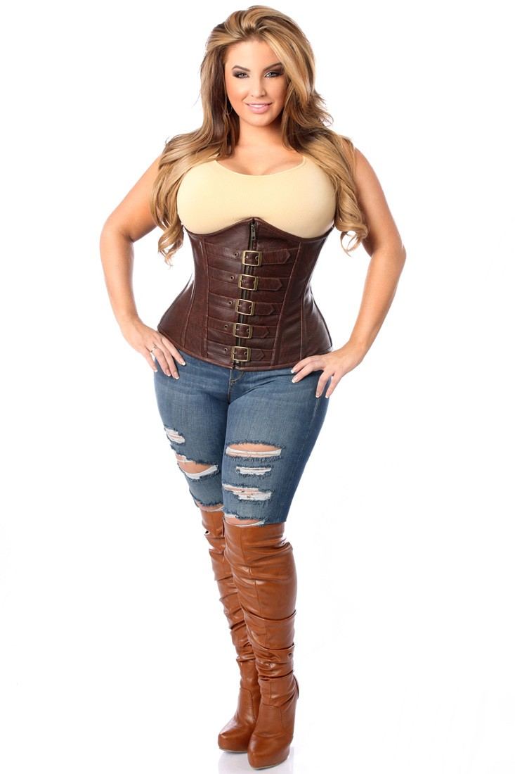 plus size corset top drawer dark brown distressed faux leather underbust buckle plus size  corset yajmczj
