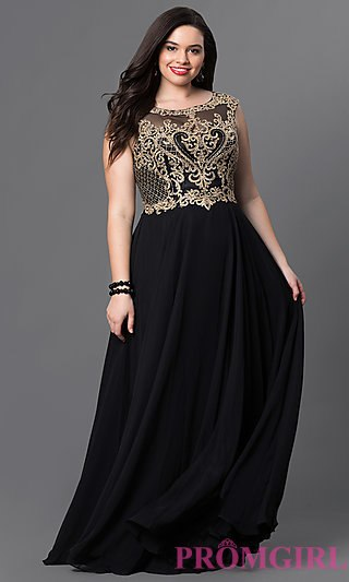 plus size formal dresses plus-size long prom dress with embroidery - promgirl wshsoxi