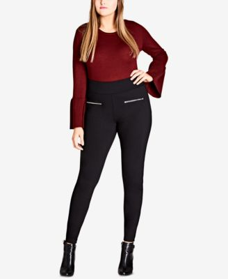 plus size leggings city chic trendy plus size zip-pocket ponté-knit leggings sgcffww