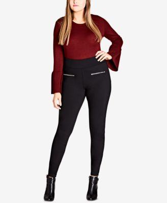 plus size leggings city chic trendy plus size zip-pocket ponté-knit leggings sgcffww