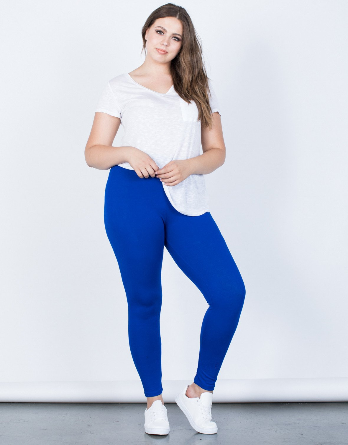 plus size leggings ... royal blue plus size on the go leggings - front view ... ntgblqm