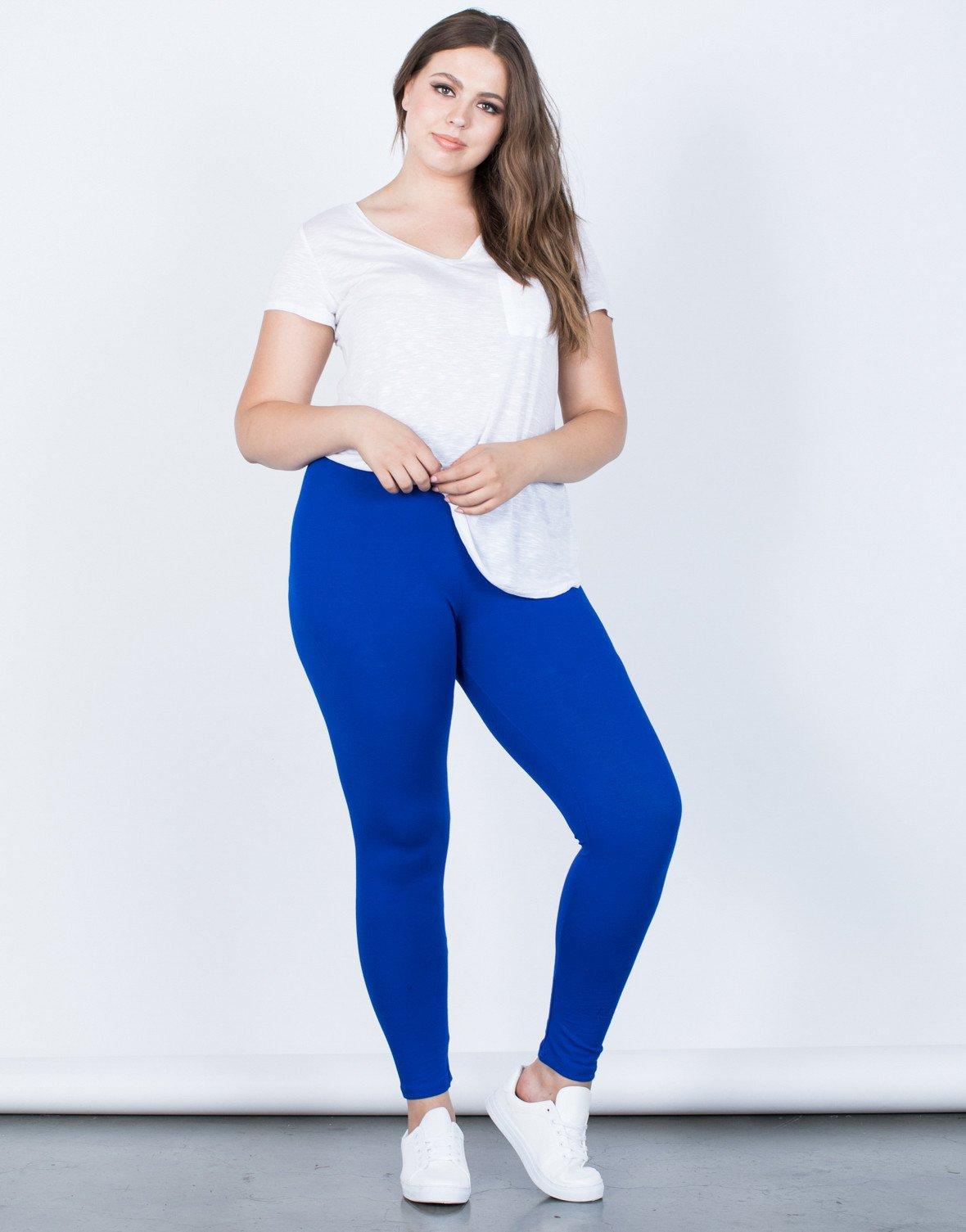 plus size leggings ... royal blue plus size on the go leggings - front view ... ntgblqm