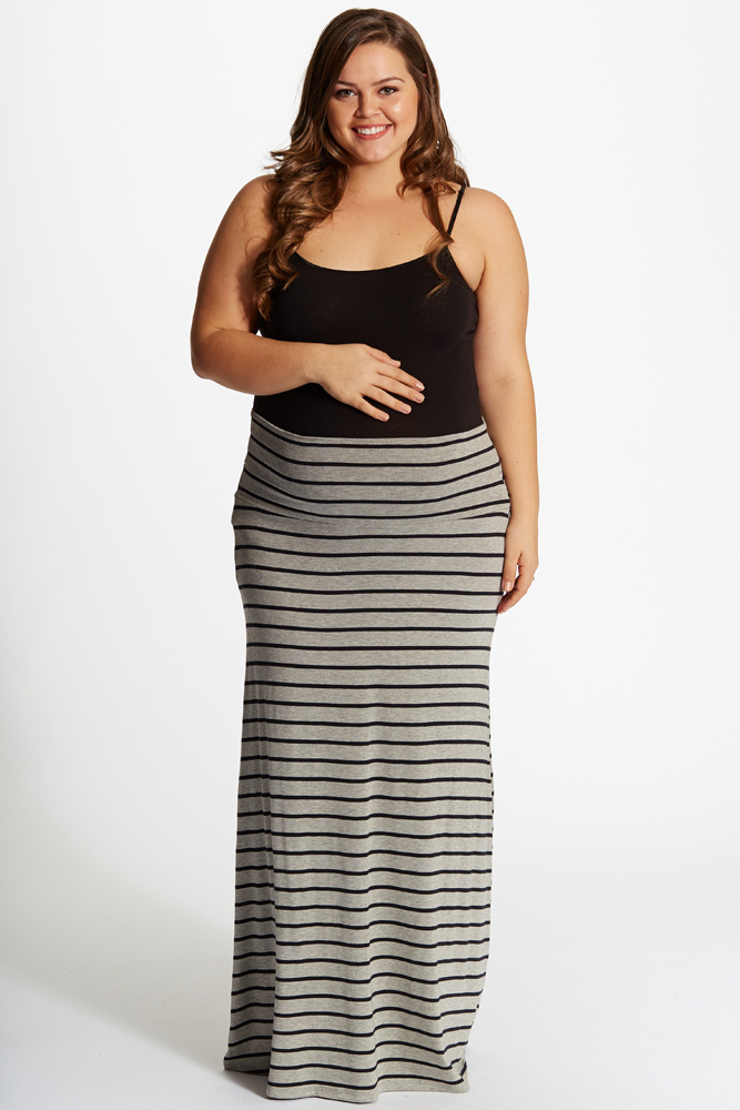 plus size skirts grey black striped plus size maxi skirt obqyynr
