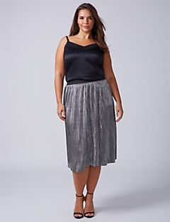 plus size skirts metallic midi skirt with mini pleats uqpeeht
