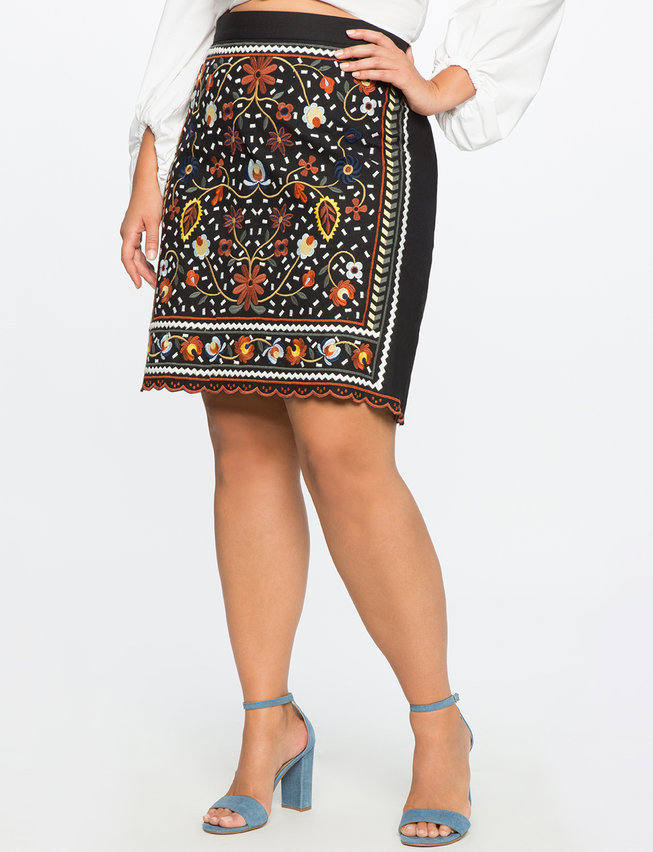 plus size skirts studio embroidered pencil skirt xxhhblo