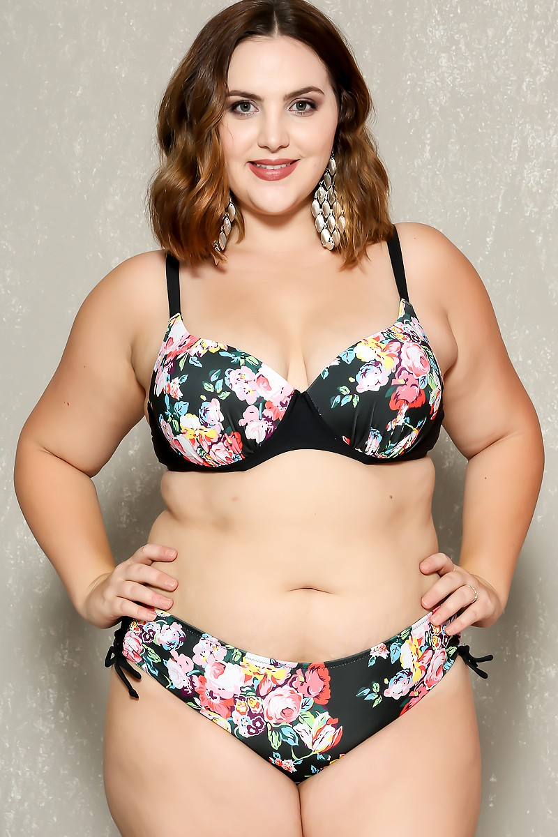 plus size swimsuits sexy black floral print push up 2pc. plus size swimsuit wjfkxbs