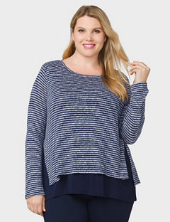 plus size tops dbsunday plus size striped split-back top ihqfsvf