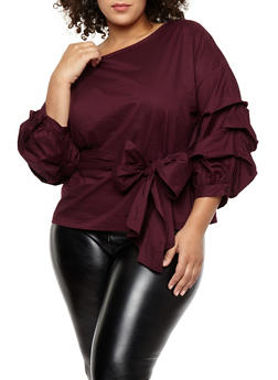plus size tops plus size tie waist ruched sleeve top - 1925069399204 pcwnblb