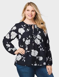 plus size tops rozu0026ali plus size crochet-trim floral blouse fhlfyqc