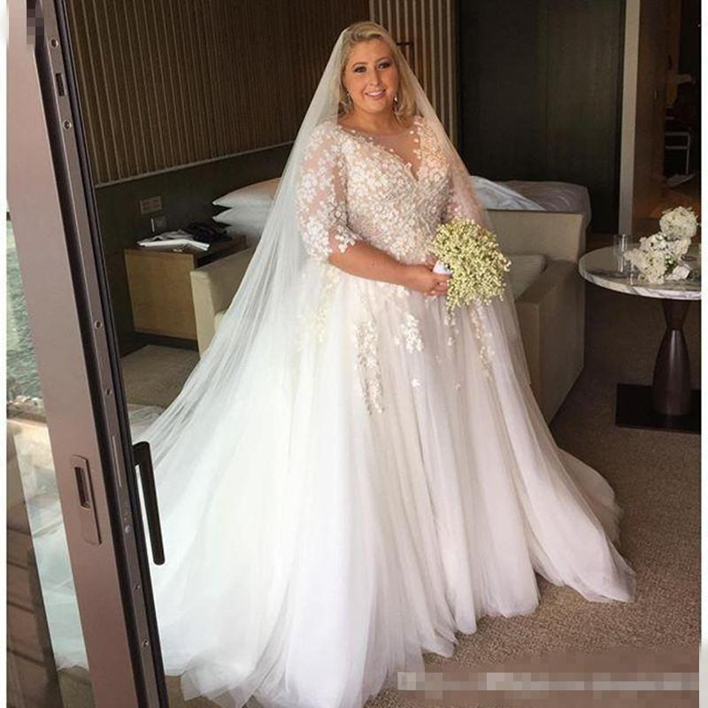 plus size wedding dress discount steven khalil 2017 arabic plus size wedding dresses sheer neck  half ppkhtvt