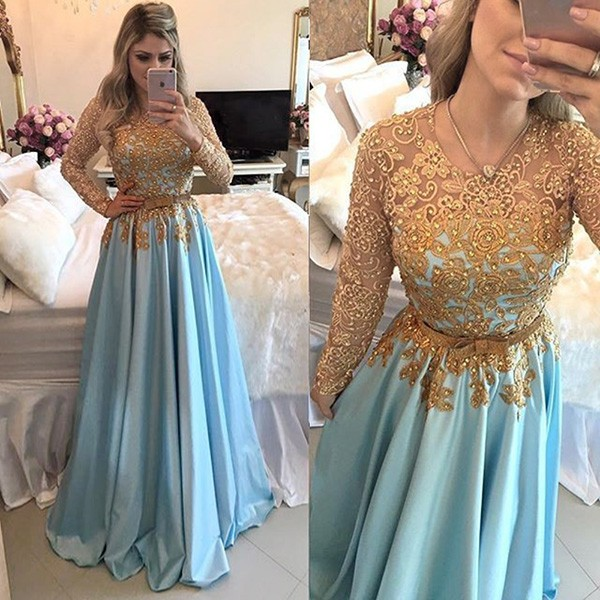 prom dresses with sleeves a-line jewel long sleeves blue satin prom dress with sash beading appliques dqofrky