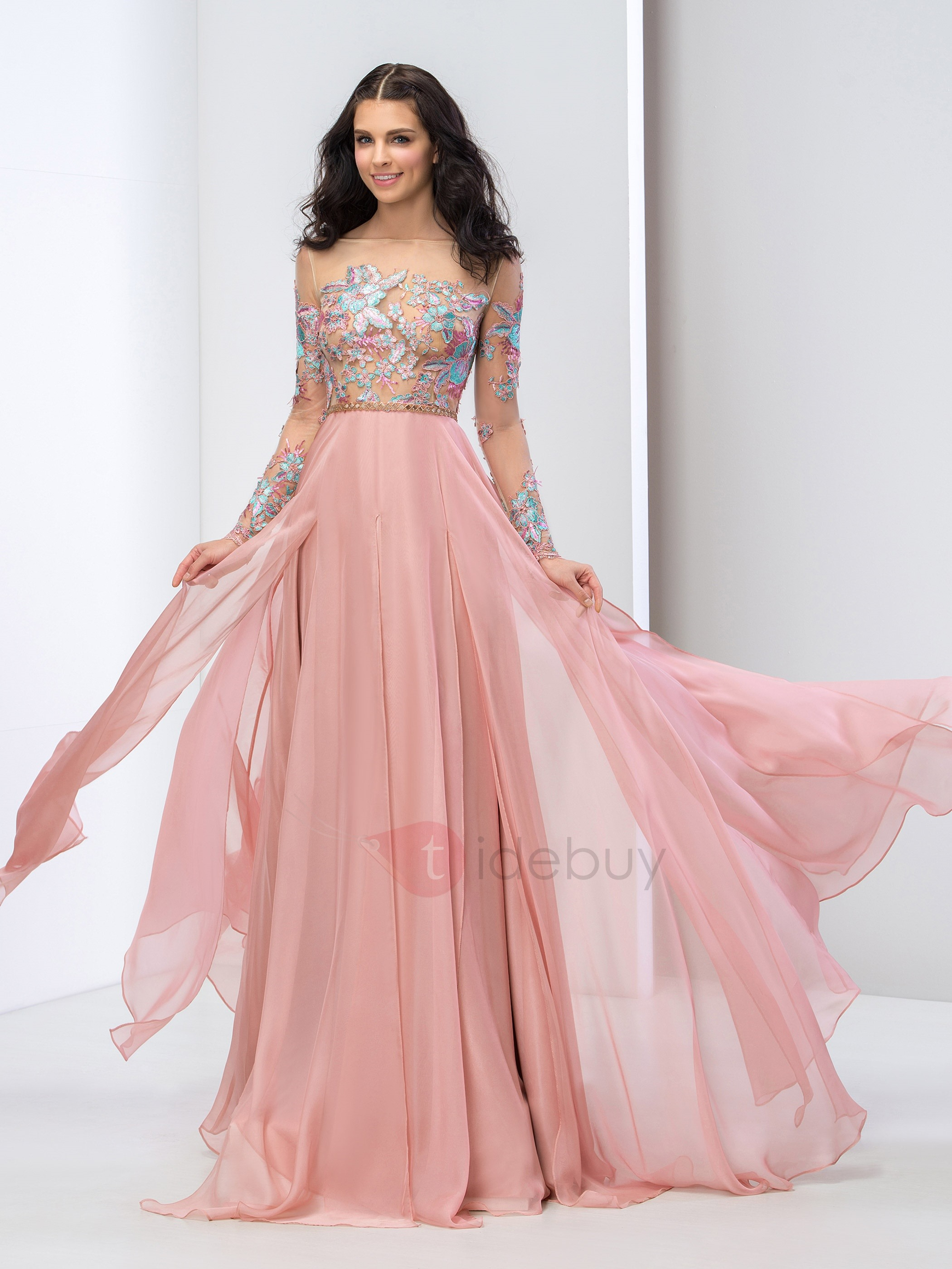 prom dresses with sleeves stunning bateau neck long sleeves appliques prom dress : tidebuy.com nkdcrxq