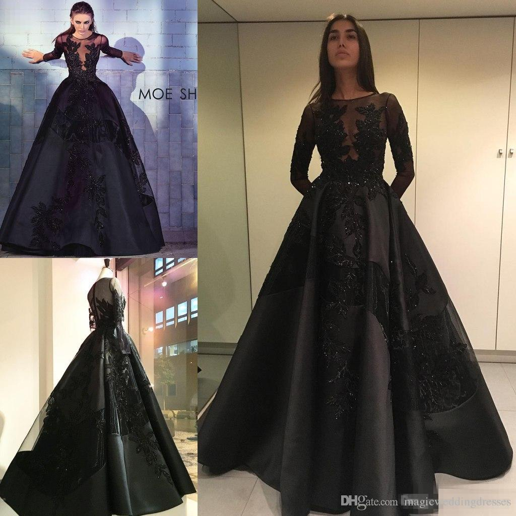 prom dresses with sleeves zuhair murad 2017 long sleeve black prom dresses lace applique beads plus qmeklit