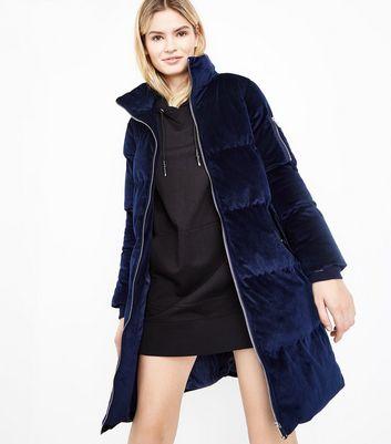 puffer coat blue vanilla navy velvet funnel neck puffer jacket | new look lgmrjne