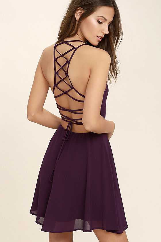 purple dress good deeds plum purple lace-up dress 1 vrlbcml