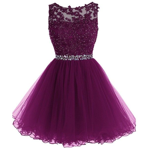 purple dress tideclothes short beaded prom dress tulle applique evening dress ($86) ❤  liked lqwclct