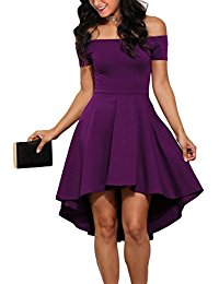 purple dress women off shoulder sleeve high low skater dress iqzkehb