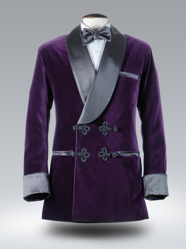 purple velvet/black silk smoking jacket gqbargg