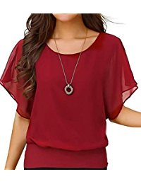 red blouse womenu0027s loose casual short sleeve chiffon top t-shirt blouse jsacsrq