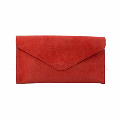 red clutch bag ladies/womens red suede envelope evening