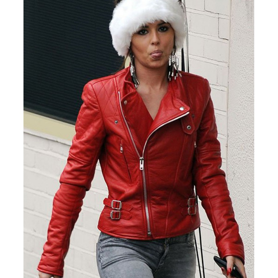 red leather jacket ... cheryl cole red leather biker jacket ... bmezakb