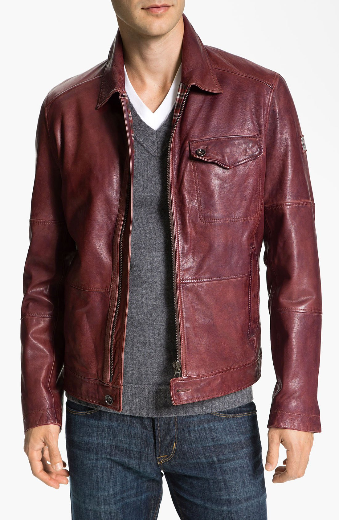 red leather jacket hugo-dark-red-javis-leather-jacket-product-2- qiajitb