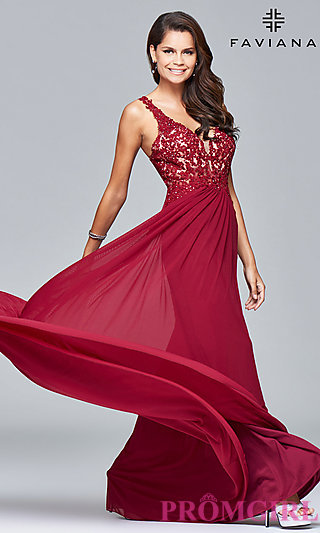 red prom dresses lace-applique v-neck faviana prom dress - promgirl zngrxas