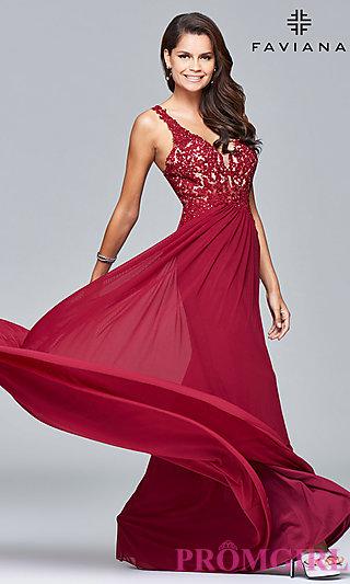 red prom dresses lace-applique v-neck faviana prom dress - promgirl zngrxas