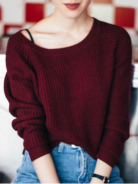 red sweater fashion boat neck loose sweater - wine red one size xwkpxcw