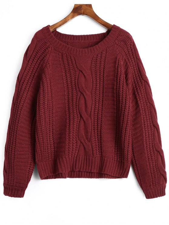 red sweater hot plain cable knit chunky sweater - deep red one size yhgixnu