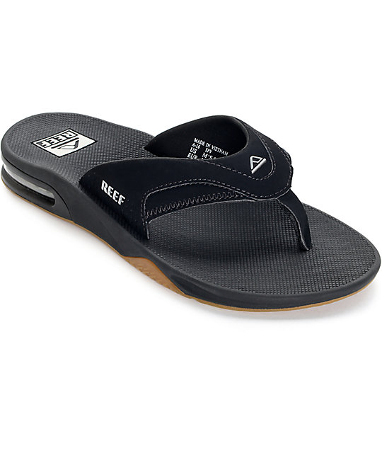 reef shoes reef fanning black u0026 silver sandals ... qpsxtav