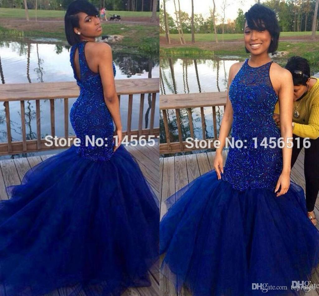 royal blue prom dresses 2016 sexy back mermaid