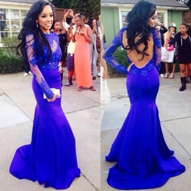 royal blue prom dresses sexy prom dress -royal blue mermaid scoop long sleeves with appliques aybfstj