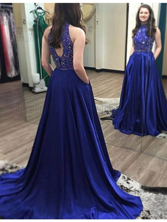 royal blue prom dresses stunning high neck open