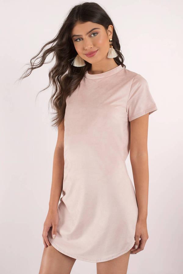 sahara blush faux suede shirt dress knzavbl