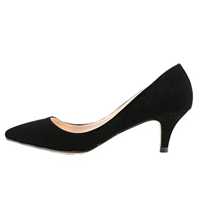 samsay womenu0027s slender kitten heels pointed toe pumps court shoes whfccjv
