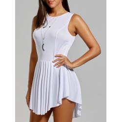 sexy party dresses asymmetrical short sleeveless pleated dress - white - l ihnmvef