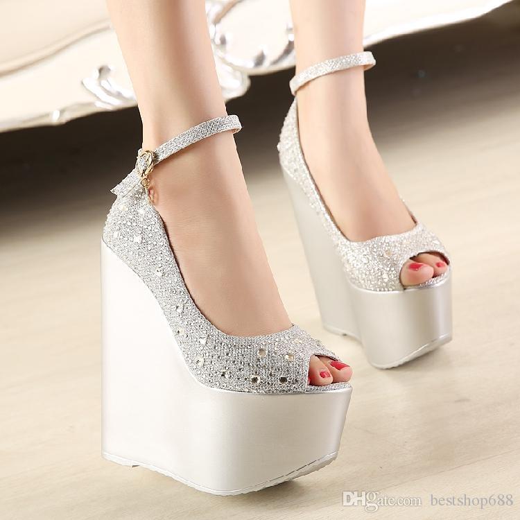 sexy rhinestone ultra high heels wedges shoes platform open toe women wedge hngykhr