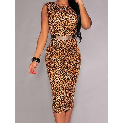 sexy scoop neck sleeveless leopard print dress for women emmhswx