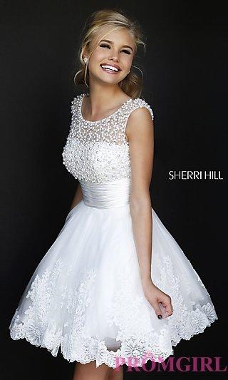 sherri hill prom dress, short white dress for prom vnrpyqc