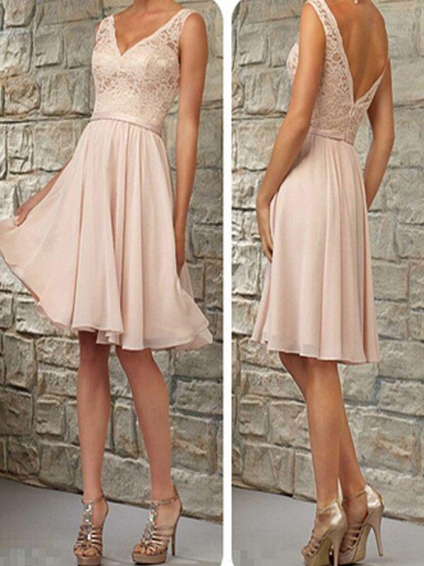 short bridesmaid dresses short bridesmaid dress,blush pink bridesmaid dress, v-neck bridesmaid dress ,lace cnhmbkt