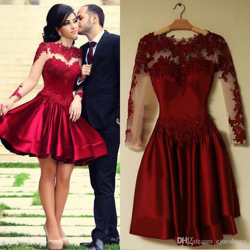 short prom dress burgundy short prom dresses 2017 lace appliques long sleeves short cocktail  party ibnzdvq