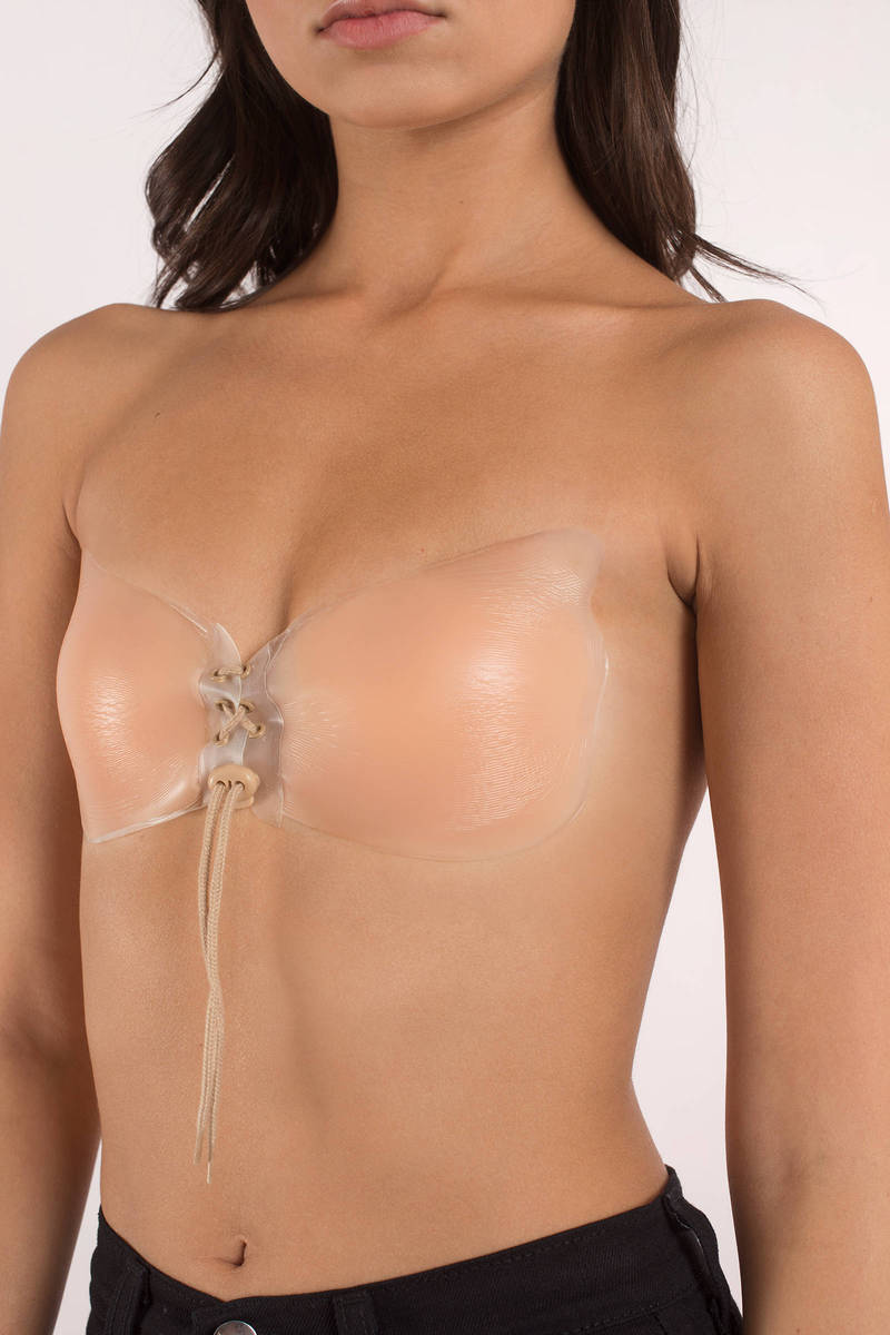 silicone lace up nude sticky bra njlnhqd