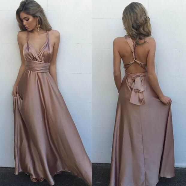 silk dresses gorgeous silk satin prom dress,sleeveless prom dresses,long evening dress,sexy  v kbsaiyl