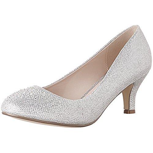 silver dress shoes bonnibel wonda-1 womens round toe low heel glitter slip on dress pumps, silver,9 mjjbrxv