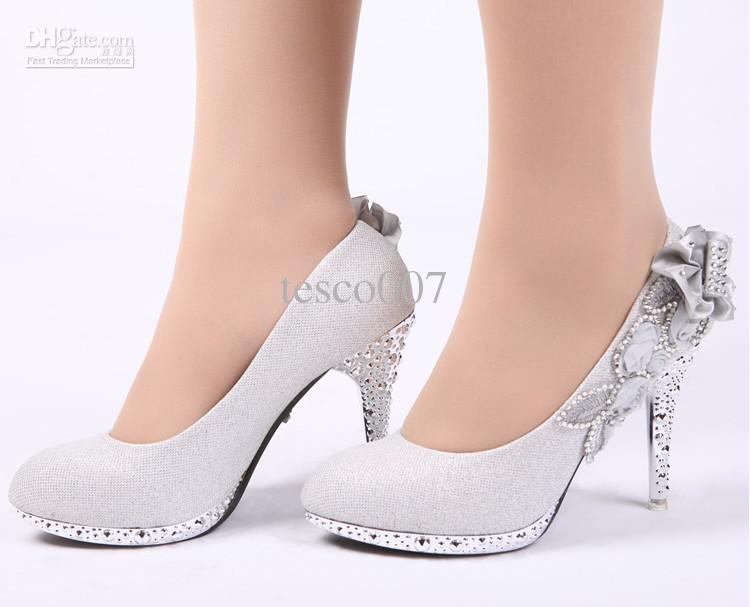silver dress shoes hot sales womenu0027s fashion high-heeled shoes silver flowers bride wedding dress  shoes lxmfvjw